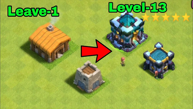 How to convert clash of clans town hall 1 to 13 !! Clash of clans town hall 1 to 13 !!...