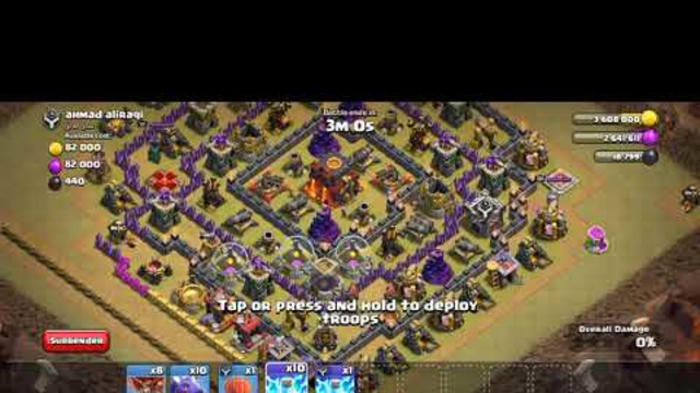 coc , clash of clans in hindi ,war base attack ,loot attack ,th 10 ,townhall10,war game statergy