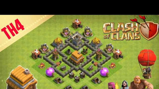 NEW BEST BASE TOWN HALL 4 - Clash of Clans