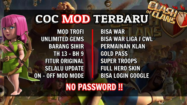 Clash of Clans mod 2020   unlimited segalanya bisa CWL, war, Gold Pass dll   #PutraJTS