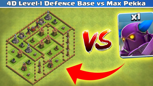 4D Level-1 Defence Base vs One Pekka Challenge | Clash of Clans | *Overpowered Pekka* | NoLimits