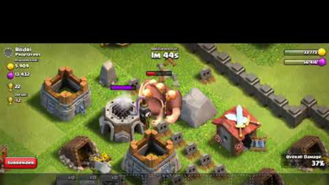 Attacking a base with a TH5 in clash of clans