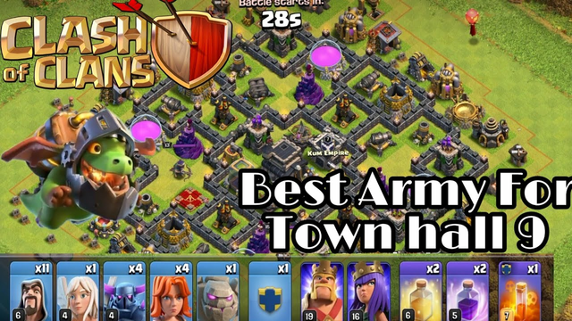 Best Attacks On Town hall 9 - Army. Clash Of Clans Gameplay..