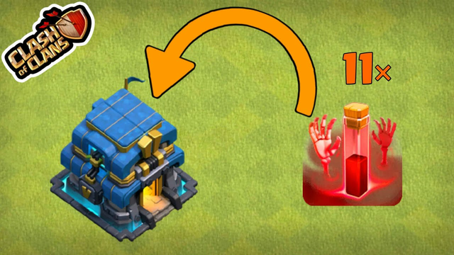 Town Hall VS skeleton spell.........................In Clash Of Clans