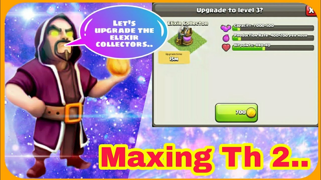 How much gold is needed to upgrade elexir collector to level 3? ||Maxing Th2 || Clash of Clans...