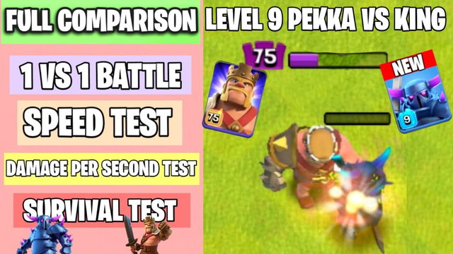 New Level 9 PEKKA Vs Level 75 Barbarian King | Full Comparison | Clash of clans