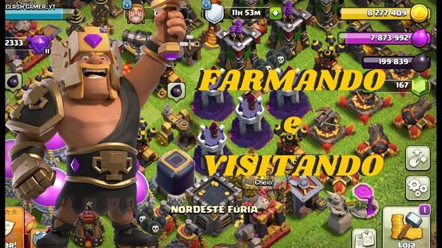 FARMANDO E VISITANDO VILAS AO VIVO CLASH OF CLANS!!