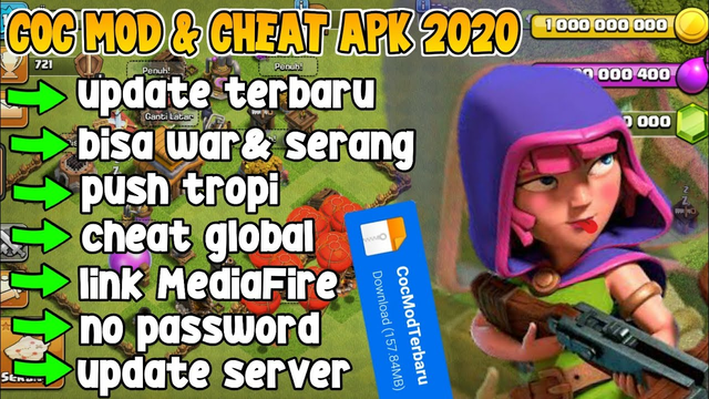 DOWNLOAD!! CLASH OF CLANS MOD&CHEAT APK , UPDATE VERSION TERBARU 2020 link download MediaFire no pw