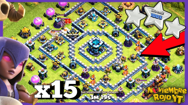 CoC Th13 POPULAR RING BASE 3 Star / 15 Witches Attack (With Slap) Common Anti 2 War Clash of Clans