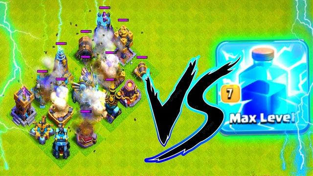 Max Lightning Spell VS Every Single Defense|| Spell Vs Max Lvl Defenses||Clash of clans||Coc||