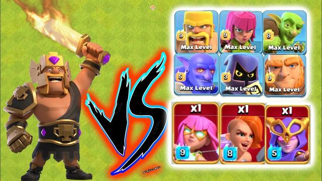**NEW** Champion King Skin Vs Every Troop & Super Troop|Clash of clans|Coc |Super Troops Vs Heroes|