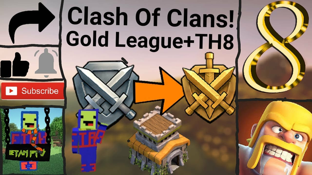 Clash Of Clans! Ep 8   TOWN HALL 8 AND GOLD LEAGUE!!