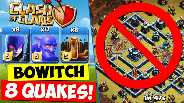 BOWITCH with 8 QUAKES ! TH13 Bowler Witch Attack Strategy   Town Hall 13 Clash of Clans COC