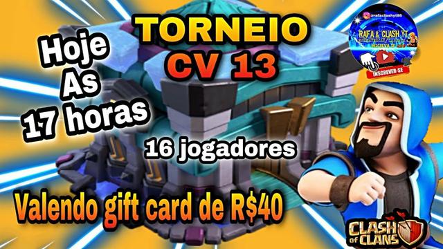TORNEIO DE CV 13 , VALENDO GIFT CARD | CLASH OF CLANS