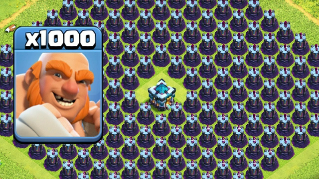 1000 Giant VS 1000 Wizard Tower Amazing Attack On Clash Of Clans