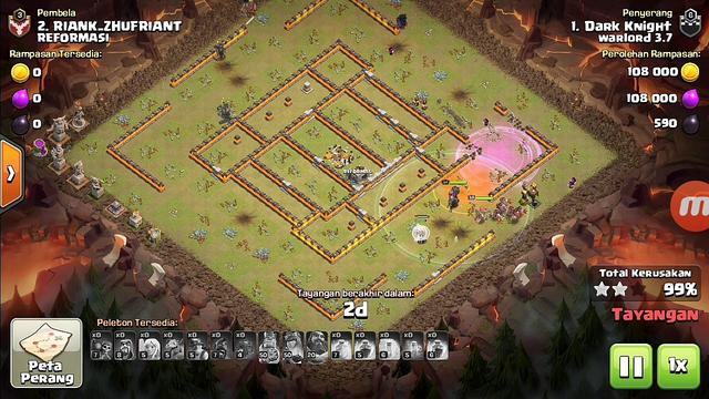 Serangan darat dan udara th 11 || clash of clans