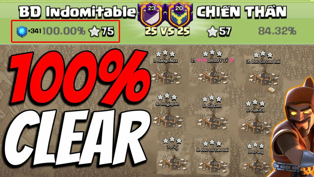 BD Indomitable 100% Clear Opponent All Bases - ultra Clan fight - 25vs25 War Attack - Clash Of Clans