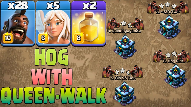 Th13 Hog Attack With Queen Walk Th13 Attack Strategy 2022 Clash Of Clans 28 Hogs + 5 Healer