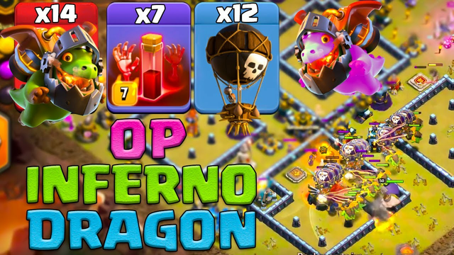 Inferno Dragon+ Balloon + Skeleton Attack Strategy New Th13 Attack Strategy 2021 Clash Of Clans
