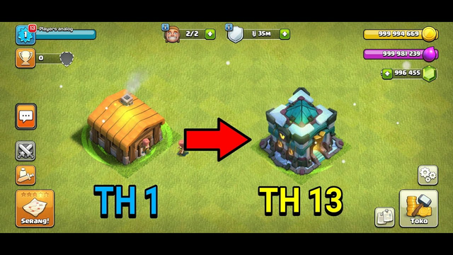 clash of clans MOD || upgrade Townhall 1 to Townhall 13 max