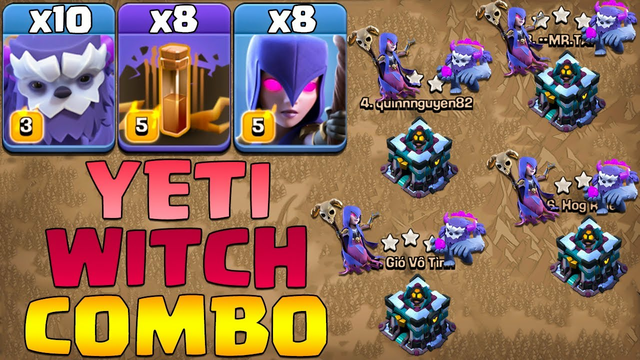 Th13 Yeti Witch Combo Attack With Earthquake !! Th13 Attack Strategy 2021 Clash Of Clans