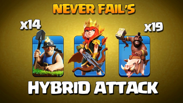 Best Th11 Hybrid Attack Strategy for 3 Star* Best Th11 Miner Hogs Attack Strategy Clash Of Clans Coc