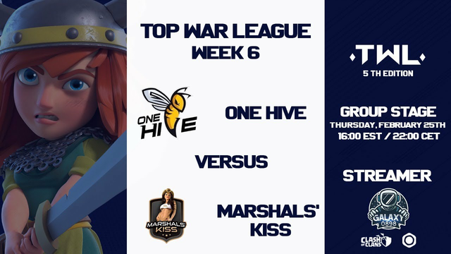ONE HIVE vs MARSHALS' KISS | TOP WAR LEAGUE 5 | CLASH OF CLANS