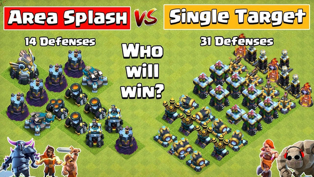 Clash of Clans - Aerial Splash Vs Single Target. Coc 14 Defense Vs 31 Defense. Coc. Clash of Clans