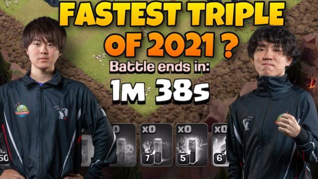 FASTEST TRIPLE OF 2021 by GAKU | Queen Walkers| ClashChampsCups | #clashofclans #coc #mobilegaming