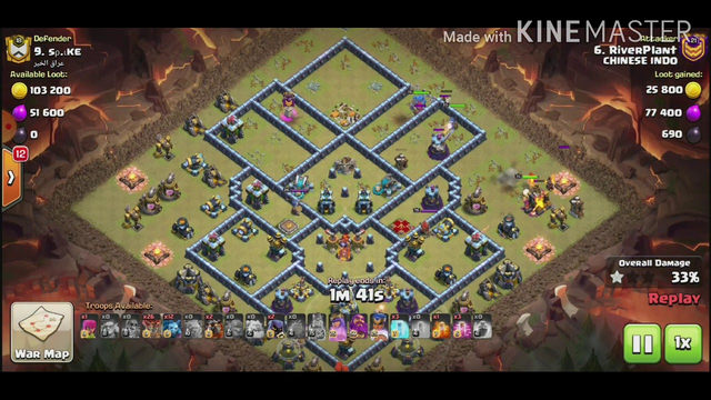 ATTACKING AT CLAN WAR LEAGUE CHAMPIONS LEAGUE 1 CLASH OF CLANS TOWN HALL 13 WITH LAVA BLIZZARD