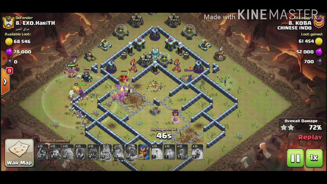 ATTACKING AT CLAN WAR LEAGUE CHAMPIONS LEAGUE 1 CLASH OF CLANS TOWN HALL 13 WITH GOLEM WIZZ WITCH