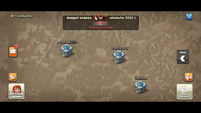 LIVE CLAN WAR.. LIVE WAR CHALLENGE 5 VS 5 .. CLASH OF CLANS