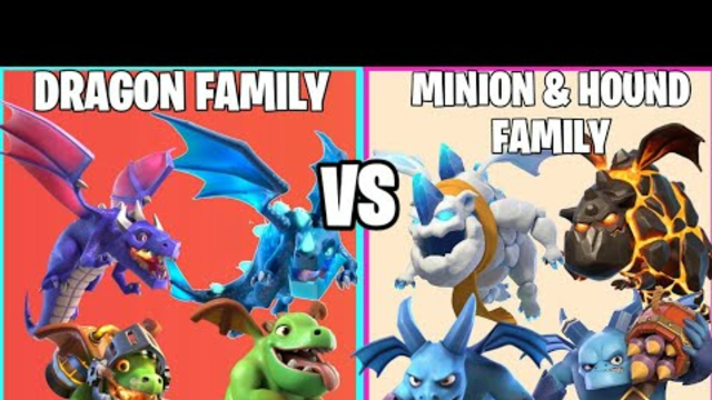 Dragon Family Vs Hound + Minion Family On Coc | Family Challenge | Clash Of Clans |