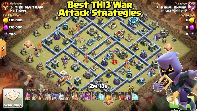 Best War TH13!! Clan War Attack 3 star ( clash of clans )
