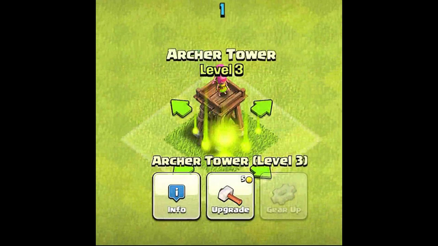 Archer Tower Level 1 To Max - Clash of Clans. #Shorts#cocshorts#clashofclans