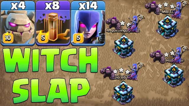 Th13 Golem Witch Attack Strategy With Earthquake ! Best Th13 Attack Strategy Clash Of Clans-CWL 2021