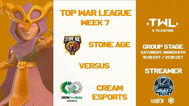 STONE AGE vs CREAM ESPORTS | TOP WAR LEAGUE 5 | CLASH OF CLANS