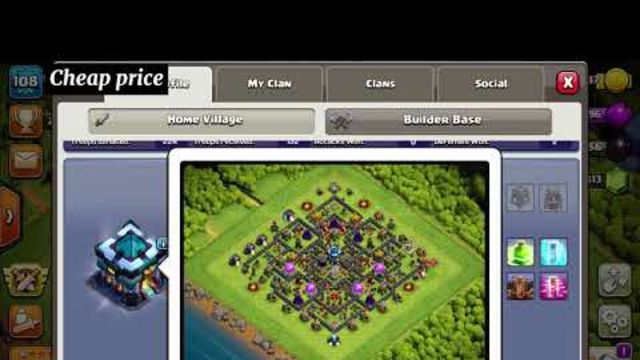 Clash of clans town hall 13 account for sale with 800 gems and free name change