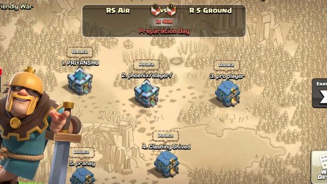 R S AIR VS ROUND LIVE TROJAN WAR   - COC