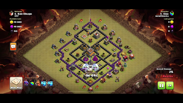 Clash of Clans Clan War 6 stars Town Hall 8