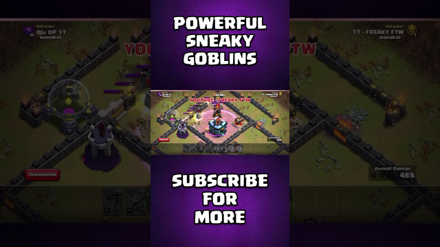 Powerful Sneaky Goblins - COC | Clash of Clans | Th10 VS Th13 | #shorts