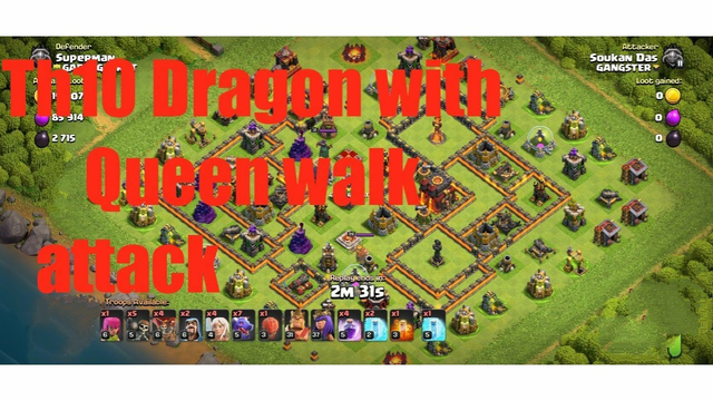 Th10 Dragon with Queen walk attack strategy,,, Clash Of Clans,COC