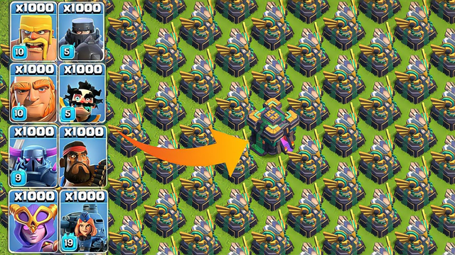 Every Troops vs Ancient Artillery Base Clash of Clans