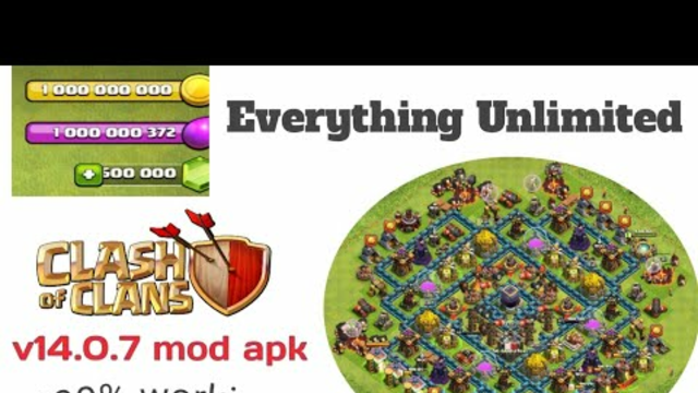 Clash of Clans mod apk latest version 14.0.7   coc mod apk 2021 100% working   unlimited everything