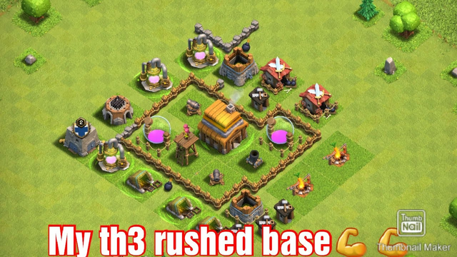 Clash Of Clans | Th3 rushed and attacks and tips (all level 1 defense and maxed out loot)