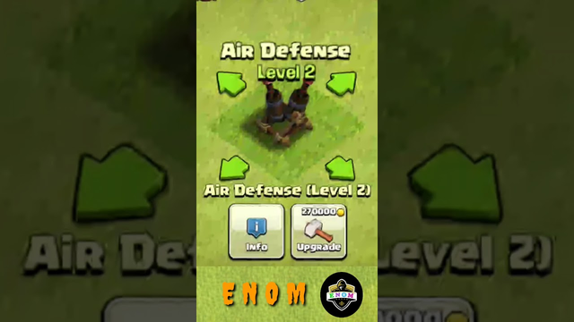 Clash of clans // Air Defense lvl-1 to max levels // TH-14  #COC #Shorts #ENOM