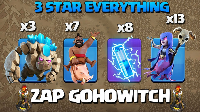 After Update* Th11 ZAP GoWitch - GoHoWitch - Th11 Zapquake Golem Witch Attack - Best Th11 ATTACK COC