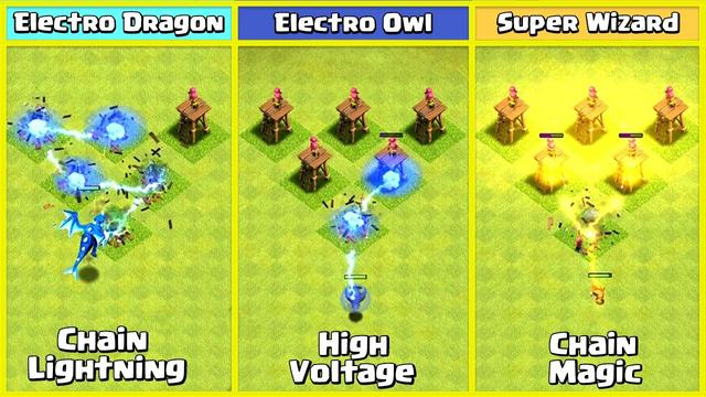 Electro Owl VS Electro Dragon VS Super Wizard VS Defences | Clash of Clans
