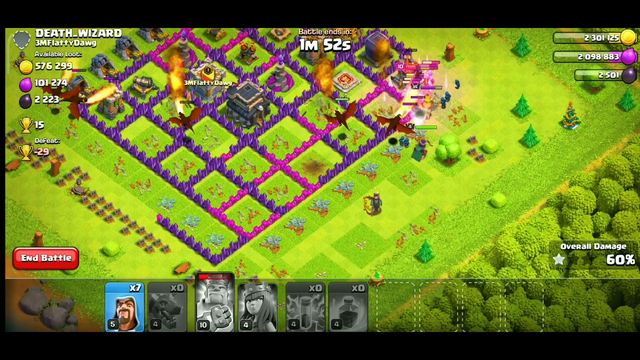 Clash Of Clans game play:  Dragon fight. king and queen