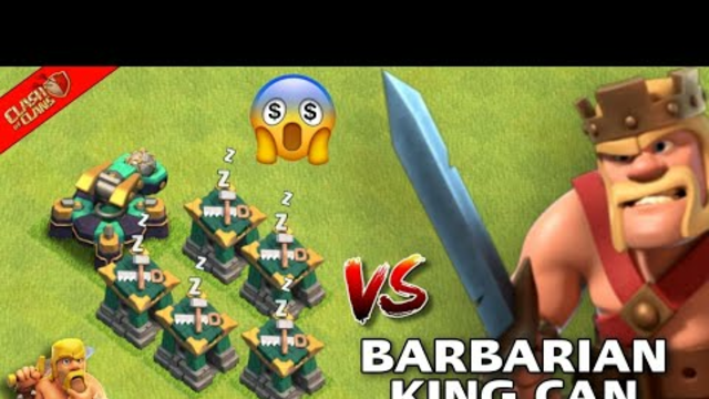 Barbarian King Vs 1 Scattershot And 5 Builder Huts...Clash Of Clans..#clashofclans#cocshorts#King